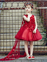 Ball Gown Knee-length Flower Girl Dress - Tulle V-neck with Crystal Detailing Flower(s)