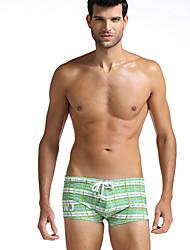 Men Plaid Shaping Panties Boxer Briefs,Cotton / Nylon / Spandex