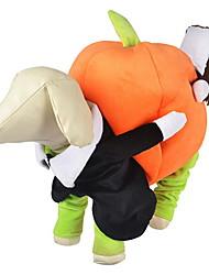Собака Костюмы Комбинезоны Одежда для собак Очаровательный Косплей Хэллоуин Тыква Оранжевый