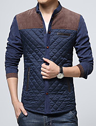 Men's Casual/Daily Vintage JacketsColor Block Stand Long Sleeve Fall / Winter Blue /  Gray Cotton / Polyester Medium