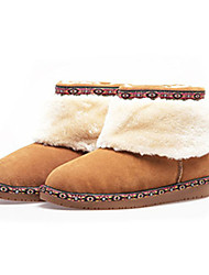 Women's Boots Comfort Suede Casual Yellow Burgundy