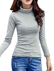 Damen Solide Einfach Street Schick Ausgehen Lässig/Alltäglich T-shirt,Rollkragen Herbst Winter Langarm Baumwolle Polyester Dünn