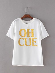 Women's Going out Cute Summer T-shirt,Letter Round Neck Short Sleeve White Cotton / Polyester Medium