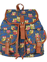 Casual Backpack Women Canvas Blue Yellow Red