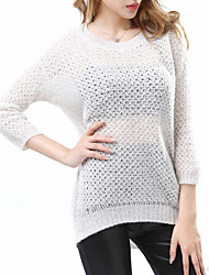 Hot Sale/Women's Casual/Daily / Holiday Sexy / Street chic Long PulloverSolid Blue / Beige / Black Round Neck  Sleeve Others Fall / Winter Medium