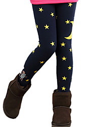 Girl Wild Print Fleece Lined Thickness Leggings Bottom Pants
