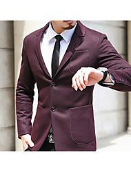 Men's Formal Simple Fall Blazer,Solid V Neck Long Sleeve Red / Black Wool Medium