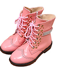 Girl's Boots Winter Snow Boots / Comfort PU Dress / Casual Flat Heel Rivet / Zipper Black / Pink Walking