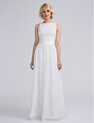 Lanting Bride® Floor-length Chiffon / Lace Bridesmaid Dress Sheath / Column Bateau Plus Size / Petite with Lace / Sash / Ribbon