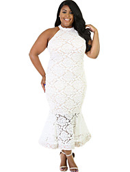 Women's Lace In Floral Mermaid Plus Dress