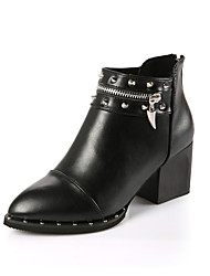Women's Boots Fall / Winter Comfort PU Outdoor / Dress / Casual Chunky Heel Rivet / Zipper Black / Silver Walking
