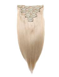 7 pièces / set clip dans les extensions de cheveux blanchissent blonds 14inch 18inch cheveux 100% pour les femmes