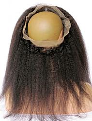 360 Лобовой Естественные прямые Человеческие волосы закрытие Умеренно-коричневый Французское кружево 75g-95g грамм Средние Размер крышки