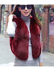Women's Casual/Daily Simple Fur Coat,Solid Sleeveless Winter Red / White / Black / Gray Fox Fur