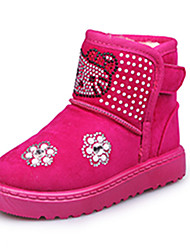 Girl's Boots Fall Winter Comfort Fabric Dress Casual Flat Heel Others Black Pink Red Walking