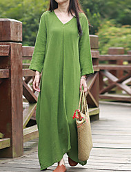 Cynthia Women's Casual/Daily Chinoiserie Loose DressSolid V Neck Maxi  Sleeve Green Linen Spring
