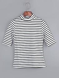 Mulheres Camiseta Casual Moda de Rua Primavera / Outono,Listrado Preto / Marrom Algodão Colarinho Chinês Manga Longa Média