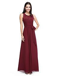 2017 lanting bride® cheville longueur en mousseline de soie robe de demoiselle d'honneur élégant - bijou avec un arc (s)