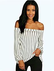 Damen Gestreift Einfach Lässig/Alltäglich T-shirt,Bateau Herbst Langarm Weiß / Schwarz Baumwolle Mittel