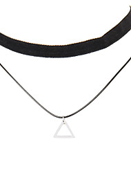Punk Gothic Long Black Velvet PU Leather Chain Necklace Stretch Tattoo Choker Elastic Tassel Necklaces