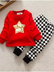 малыш Набор одежды-На каждый день,С принтом,Хлопок,Зима / Весна / Осень-Красный / Серый