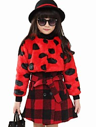 Girl's Casual/Daily Polka Dot DressCotton Winter Red / White