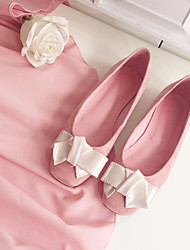 Women's Flats Spring Summer Fall Comfort Pigskin Casual Flat Heel Bowknot Pink Others