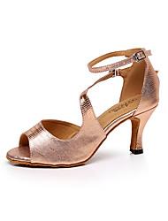 Customizable Women's Dance Shoes Leather Leather Latin / Dance Sneakers / Salsa Sandals Stiletto HeelPractice
