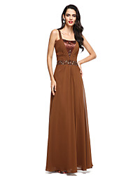 Formal Evening Dress A-line Straps Floor-length Charmeuse with Beading / Side Draping