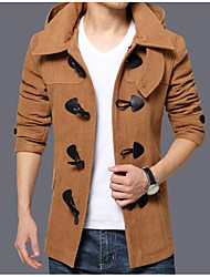 Men's Casual/Daily Simple Coat,Solid Hooded Long Sleeve Fall / Winter Beige Polyester Thick