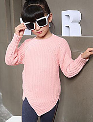 Girl's Solid Sweater & CardiganWool Winter / Spring / Fall Pink / Gray
