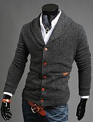 Herren Standard Strickjacke-Ausgehen Lässig/Alltäglich Einfach Street Schick Solide Blau Schwarz Grau V-Ausschnitt Langarm Baumwolle