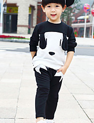 Boy's Casual/Daily Color Block Clothing SetCotton Fall Black