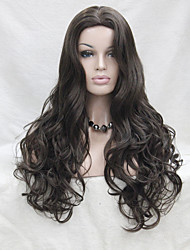 Fashion Sexy No Bangs Skin Top Ash Brown Long Wavy Synthetic Full Wig Cosplay