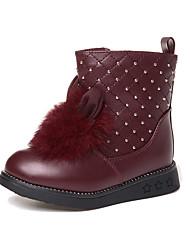 Girl's Boots Winter Comfort PU Dress / Casual Flat Heel Others Black / Red / Burgundy Walking