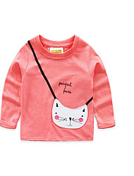 Girl's Casual/Daily Solid TeeCotton Fall Pink