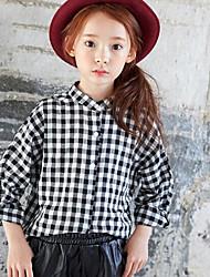 Girl's Casual/Daily Check ShirtCotton Spring / Fall Gray