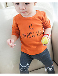 малыш Футболка-На каждый день,С принтом,Хлопок,Весна / Осень-Коричневый / Белый