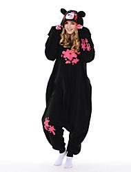 Kigurumi Pijamas New Cosplay® Urso Guaxinim Collant/Pijama Macacão Festival/Celebração Pijamas Animais Dia das Bruxas Preto PatchworkLã