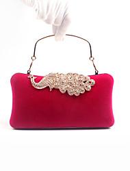 Women Velvet Poly urethane Formal Event Party Office Career Evening Bag Peacock Diamonds Flannelette Clutch Handbags