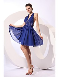 Knee-length Chiffon Sexy Bridesmaid Dress - A-line Halter with Beading