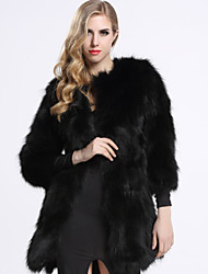 BF-Fur Style Women's Casual/Daily Sophisticated Fur CoatSolid Round Neck  Sleeve Winter Blue / Red / Black Raccoon Fur