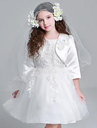 A-line Knee-length Flower Girl Dress - Satin / Tulle 3/4 Length Sleeve Jewel with Appliques