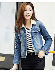 Women's Casual/Daily Cute / Active Denim Jackets,Solid Square Neck Long Sleeve Fall / Winter Blue Cotton Medium