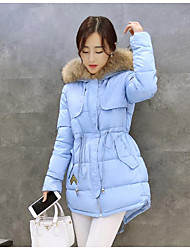 Women's Down Coat,Simple Casual/Daily Solid-Polyester Without Filling Material Long Sleeve Blue / White