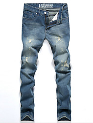 Brand Hight Quality Men's Solid Blue Jeans / Chinos PantsSimple Spring / Fall Demin Pants Hot Sale