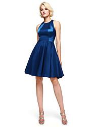 Lanting Bride® Knee-length Stretch Satin Bridesmaid Dress - A-line Jewel with