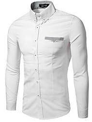 Men's Formal Simple / Street chic Fall Shirt,Solid Shirt Collar Long Sleeve Blue Cotton Medium
