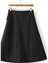 Women's A Line Solid Skirts,Going out / Casual/Daily Simple / Street chic Mid Rise Above Knee Zipper Cotton Inelastic Fall / Winter