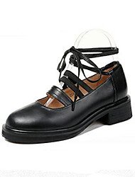 Women's Flats Spring / Summer / Fall Others Leather Outdoor / Dress / Casual Ribbon Tie Black / Beige Others